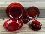 41-pce Set For 8 Of Cristal Dand039 Arques/ Cavalier Ruby Pat. Glassware