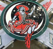 Miller High Life Beer Lighted Neon Sign 30x24 Vintage Bar Large Girl On The Moon
