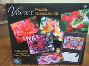Vibrant Puzzle Calendar Kit 6 Two Sided 100 Piece Puzzles Wipe Off Calender New