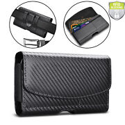 Universal Leather Wallet Phone Holster Pouch Case With Belt Loop Card Holder