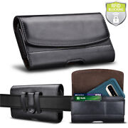 Leather Phone Belt Clip Holster Pouch Case Card Holder Rfid Blocking Wallet