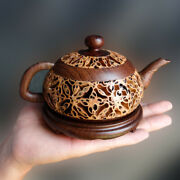 China Walnut/chicken Wing Wood Hollow Out Teapot Teakettle Incense Burner Censer