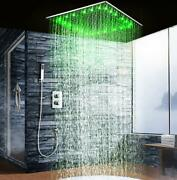 Led 20 Square Ceiling Mounted Shower System 2 Rainfall Mode, Brushed Nickel