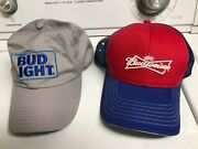 11 Total Beer Hats Bud Light Gray Hat + Budweiser Flag + Coors + More