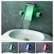 Chrome Led Waterfall Colors Changing Bathroom Basin Mixer Sink Faucet Hdd758