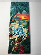 Beachy Ceramic Wall Art Plaque 6x16 Tropical Beach Chairs At Sunset Picture Ping