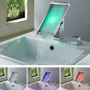 Color Changing Led Waterfall Widespread Bathroom Sink Faucet Chrome Finish