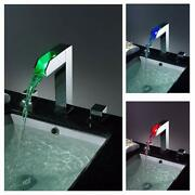 Chrome Led Waterfall Colors Changing Bathroom Basin Mixer Sink Faucet Hdd739