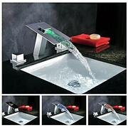 Chrome Led Waterfall Colors Changing Bathroom Basin Mixer Sink Faucet Hdd745