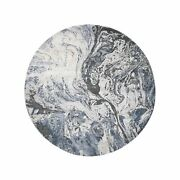 8and0391x8and0391 Blue Geological Design Wool And Pure Silk Handknotted Round Rug R47758