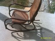 Vintage Bent Metal Childand039s Cane Bottom And Back Rocking Chair
