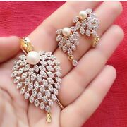 5.98 Cts Round Brilliant Cut Diamonds Pearl Pendant Earrings Set In 585 14k Gold