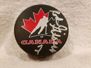 Awesome Rod Gilbert Auto'd Team Canada Cup Puck, New York Rangers, Nice