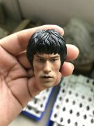 Movie Star Male Head 1/6 Scale Bruce Lee Head Carved For 12 Hot Toys Figure