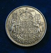 Canada 1945 50 Cents Wide Date Blunt 5 Silver Fifty Cent Piece Half Dollar