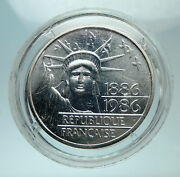 1986 France Gifts Statue Of Liberty To Us Huge Genuine Silver French Coin I80711
