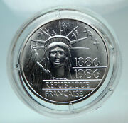 1986 France Gifts Statue Of Liberty To Us Huge Genuine Silver French Coin I80712