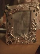 Lenox Santa Claus Lighted Photo Frame Silvertone 8x9.5 Overall For 4x6 Photo