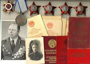 Soviet Banner Medal 4 Orders Of The Red Star With Documents Combat 1716