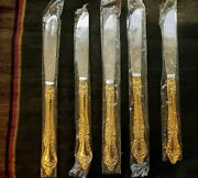 Lot 5 Knives 24 Carat Gold Plated Stainless Steel Northcraft Japan Floral Roses
