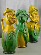 Three Antique Folk Art Pitchers With Yellow And Green Glaze