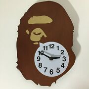 A Bathing Ape X Case Study Shop Bape Wood Wall Clock With Battery Extremely Rare