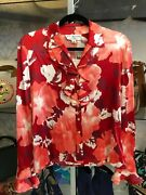St. John Collection Red Floral Print Silk Ruffle Front Long Sleeve Top Sz 4 500