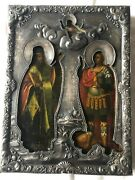 Old Russian Icon Depicting Two Saints Under The Silver Dense Forged Oklad