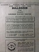 Sears Dozer Plow Blade Implement Garden Tractor Owner And Parts Manual 917.99380