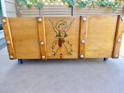 Vintage 1950's Western Cowboy Wooden Toy Chest Rope Handles On Wheels No Top
