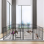 40and039and039h 16-panel Heavy Duty Metal Pet Playpen Dog Exercise Pen Fence W/ Door Black