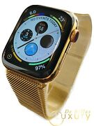 24k Gold Plated 44mm Apple Watch Series 5 Gold Milanese Loop Stainless Steel
