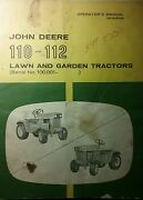 John Deere 110 112 Lawn Garden Tractor And 43 Plow Blade Owner And Parts 3 Manual S
