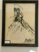 Original Charcoal Drawing Fashion Style Signed Framed
