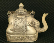 Antiques Copper Hand Carved Tea Pot Elephant Statue Noble Collectible Gift