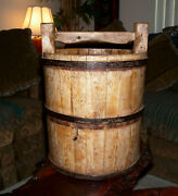 Chinese Asian Antique Vintage Rustic Handmade Wooden Water Bucket 15 Lb Free S/h