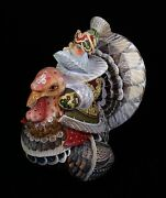 Russian Santa Riding Turkey Hand Carved And Painted