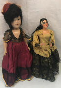 Lot Of 2 - Vintage Ethnic Dolls 15 Asian Porcelain And 14 Mexican Doll