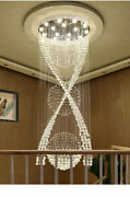 Dimmable Led Crystal Pendant Light Modern Villa Rotary Staircase Crystal Hanging