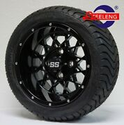 Golf Cart 12 Black And039venomand039 Wheels / Rims And 215/40-12 Low Profile Tires 4