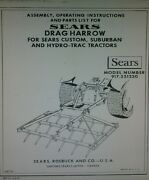 Sears 3-point Spike Tooth Harrow Implement Lawn Garden Tractor Owners Manual