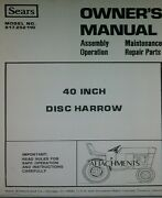Sears Suburban 3-point 40 Disc Harrow Implement Garden Tractor Owners Manual