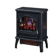 3d Infrared Quartz Electric Fireplace Stove Black Vintage Style Space Heater