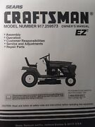 Sears Craftsman 19.5 H.p Lawn Tractor And 42 Mower Owner And Parts Manual 917.259573