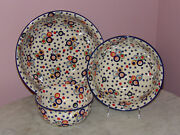 Polish Pottery Set Of 3 Serving Mixing Bowls Happy Happy Pattern