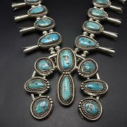 Vintage Navajo Sterling Silver Natural Turquoise Squash Blossom Necklace 336g