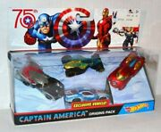 Hot Wheels Marvel Captain America 75th Origins Pack Thor Wasp Iron Man Exclusive