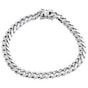 Mens Real 10k White Gold 8mm Solid Miami Cuban Link Fancy Bracelet Box Clasp 9