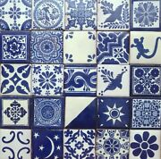 Set With 100 Mexican 2x2 Ceramic Tiles Handmade Hand Painted Clay Tile 001