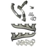 Ppe High-flow Exhaust Manifolds With Up-pipes For 2011-2016 Gm 6.6l Duramax Lml